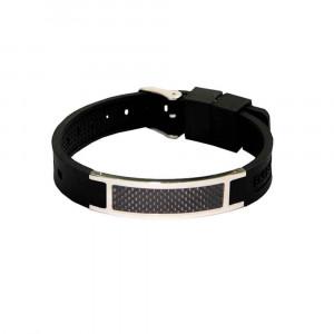 Bracelet magnétique Silicone Noir Carbone - Auris