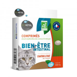 Comprimés Bien-être intestinal Bio Chaton et Chat x 10 Biovetol