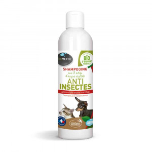 Shampooing Anti-Insectes Bio pour Chat et Chien Biovetol 240ml